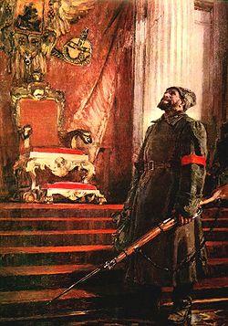 В результате революции началась Гражданская война в России, было свергнуто Временное правительство и к власти пришло правительство, сформированное II Всероссийским съездом Советов, абсолютное большинство делегатов которого составили большевики (РСДРП(б)) и их союзники левые эсеры, поддержанные также некоторыми национальными организациями, небольшой частью меньшевиков-интернационалистов, и некоторыми анархистами. В ноябре 1917 года новое правительство было поддержано также большинством Чрезвычайного Съезда крестьянских депутатов.  Временное правительство было свергнуто в ходе вооружённого восстания 25—26 октября (7—8 ноября по новому стилю), главными организаторами которого были В. И. Ленин, Л. Д. Троцкий, Я. М. Свердлов и др. Непосредственное руководство восстанием осуществлял Военно-революционный комитет Петроградского Совета, в который входили также левые эсеры. Успех восстания предопределили поддержка значительной части народа, бездействие Временного правительства, неспособность меньшевиков и правых эсеров предложить реальную альтернативу большевизму